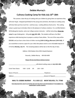 Debbie Murray's Culinary Cooking Camp